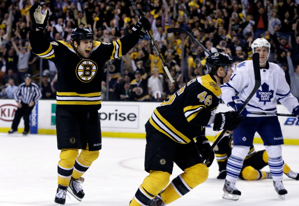 Boston Bruins left wing Milan Lucic, left, celebrates a goal scored by center David Krejci (46) as Toronto Maple Leafs left wing Nikolai Kulemin (41) looks on during the second period in Game 1 of a first-round NHL hockey playoff series in Boston, Wednesday, May 1, 2013. (AP Photo/Elise Amendola)