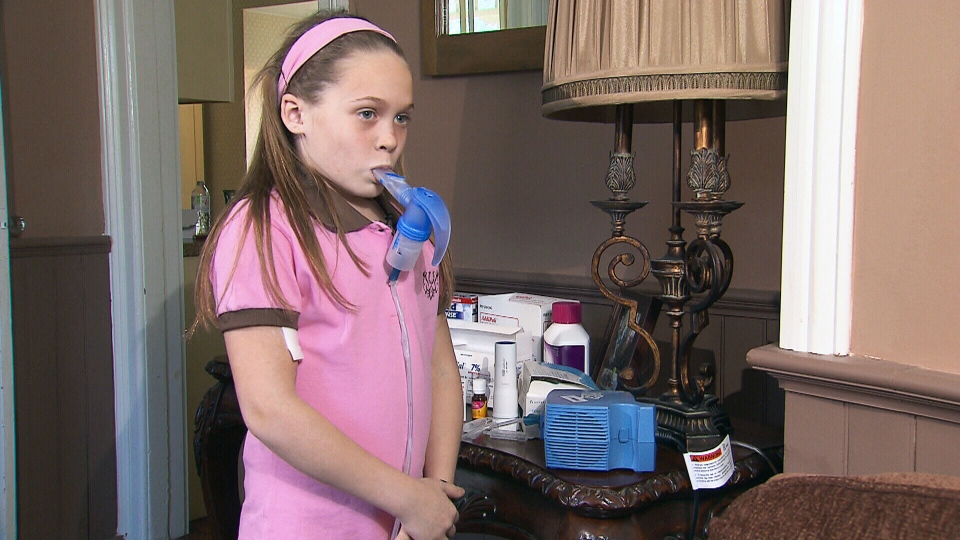 Ontario Cystic Fibrosis patient Madi Vanstone takes a breath Wednesday, May 1, 2013.