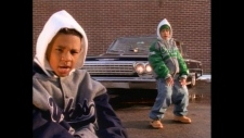 Kriss Kross shown in their music video for 'Jump'.