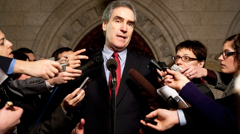 Liberal Leader Michael Ignatieff speaks to reporters in the foyer following Question Period in the House of Commons on Parliament Hill in Ottawa on Thursday, March 10, 2011. (Sean Kilpatrick / THE CANADIAN PRESS)