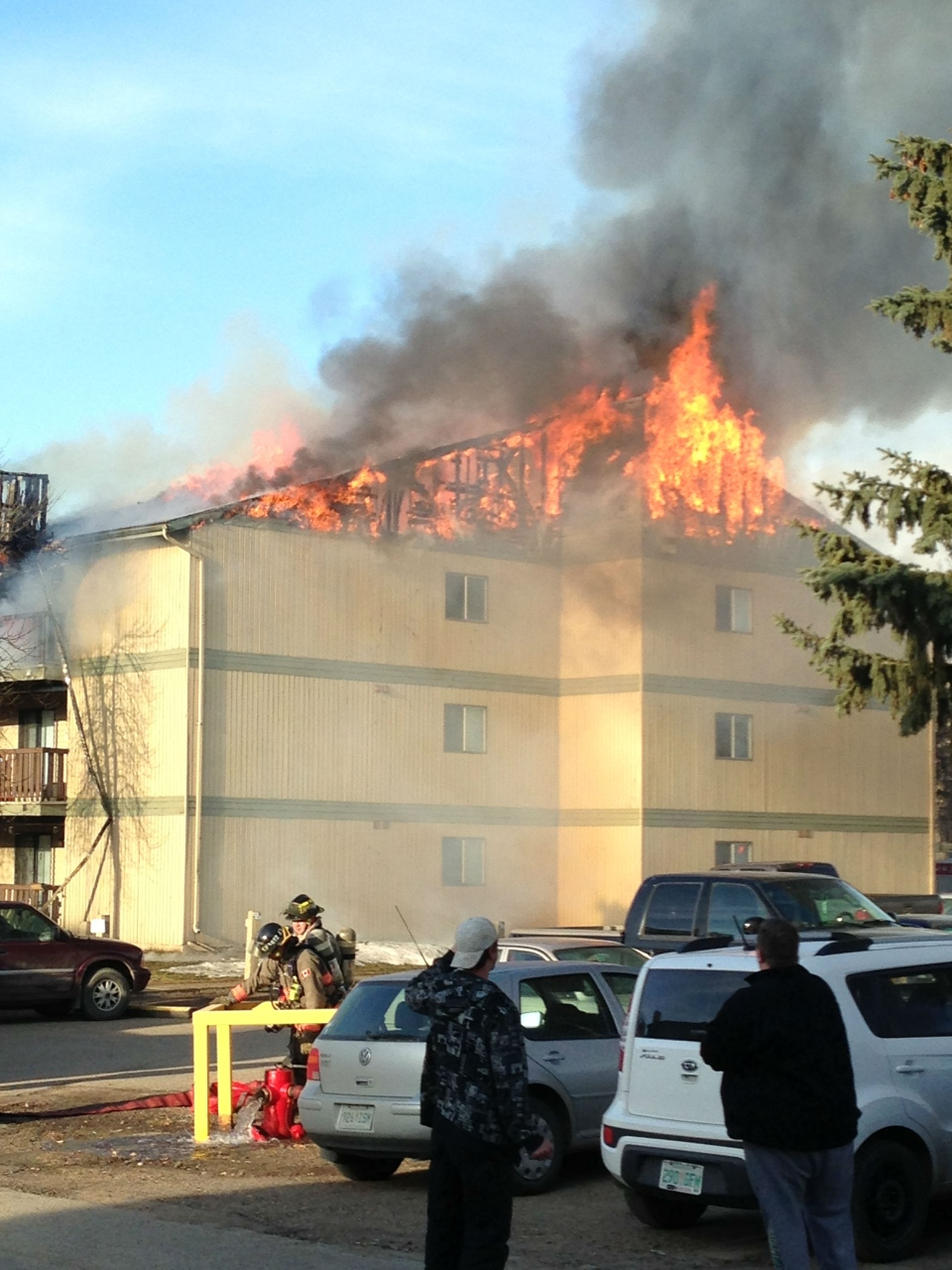 Saskatoon firefighters were on the scene Thursday morning at an apartment complex near Eighth Street and McKercher Avenue.