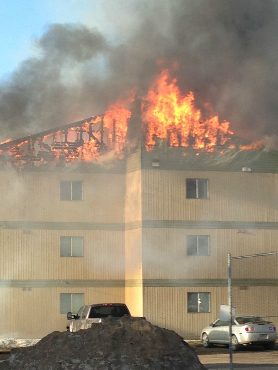Firefighters responded at about 7 a.m. Thursday to a fire at an apartment building near Eighth Street and McKercher Drive.