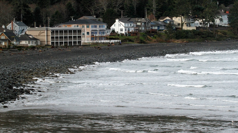 cean waters from a tsunami surge hit the rocky coast in Seaside, Ore., Friday, March, 11, 2011. The tsunami traveled across the Pacific Ocean after an 8.9-magnitude earthquake struck the east coast of Japan. (AP / Don Ryan)