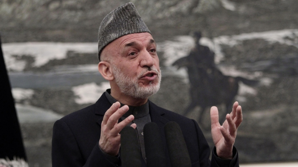 Afghan President Hamid Karzai speaks during a news conference in Kabul, Afghanistan, Saturday, May 4, 2013. (AP / Rahmat Gul)