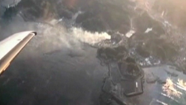 An aerial image of a damaged nuclear plant in Japan is shown on Friday, March 11, 2011.