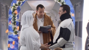 May the 4th be with them. Star Wars fanatics Chris Bold and Janice Chisholm chose the unofficial day of the celebrated sci-fi series to marry each other, complete with a Jedi officiator and groomsmen Darth Vader and Chewbacca. (CTV)