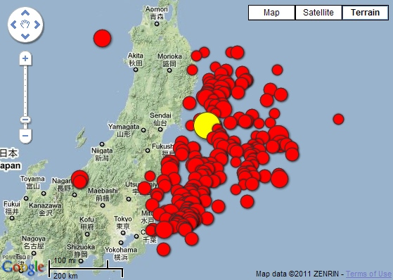 The location of the mainshock and 228 aftershocks are seen off the eastern coast of Japan in this graphic courtesy the U.S. Geological Survey, Saturday, March 12, 2011.