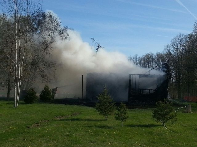 Oneida fire crews put out a blaze on River Road on Oneida Nation of the Thames on Monday, May, 6, 2013. (Admar Ferreira / CTV London)