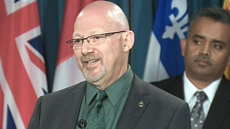 NDP MP Randall Garrison speaks to reporters in Ottawa on Monday, May 6, 2013.