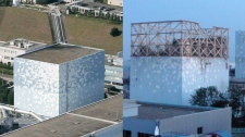 In this combination of photos, the No. 1 reactor of the Fukushima Daiichi Nuclear Power Plant, is seen before, left, and after an explosion that blew out the walls of the unit, in Okumamachi, Fukushima Prefecture in Japan.  The photo at left was taken Oct. 3, 2008, and the photo at right was released by the Tokyo Power Electric Co. March 12, 2011, following the explosion. (AP Photo/ Kyodo News and Tokyo Power Electric Co.)
