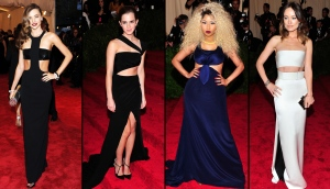 <b>In Photos: Best Looks at the Met Gala</b><br><br>The annual Met Gala is an event known for Hollywood heavyweights showcasing the most eccentric styles. The more extravagant the outfit, the more you're likely to fit in. From Miley Cyrus' spikey hair to Beyonce's fierce dress paired with gloves, check out the hottest looks.<br><br> Model Miranda Kerr, from left, actress Emma Watson, singer Nicki Minaj and actress Olivia Wilde attend the Metropolitan Museum of Art&#39;s Costume Institute benefit celebrating 'PUNK: Chaos to Couture' in New York on Monday, May 6, 2013. (Invision)