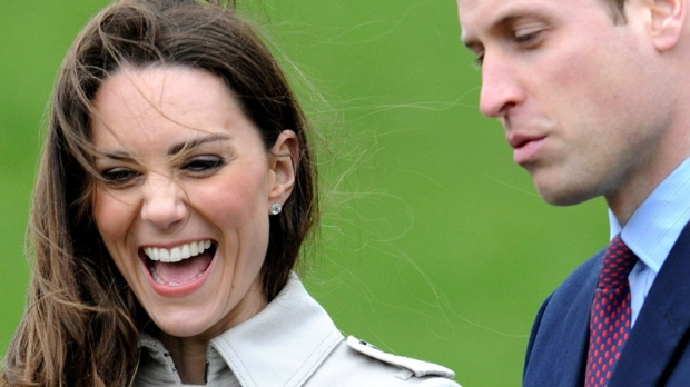 Kate Middleton laughs during a visit to Antrim, Northern Ireland, with Prince William, Tuesday, March 8, 2011. (AP / Michael Cooper)