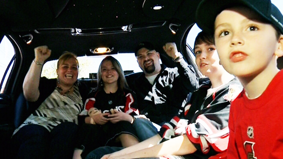 The Penner family gets a free limo ride to the Sens vs. Habs game Tuesday, May 7, 2013.