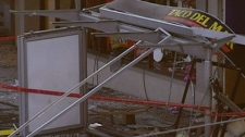 The Taco del Mar restaurant on West Broadway in Vancouver was destroyed in an explosion. Feb. 13, 2008. (CTV)