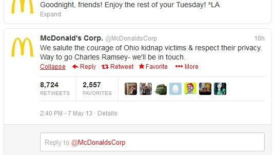 McDonald's tweet to Charles Ramsey: 'We'll be in touch'