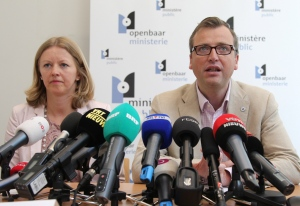 Prosecutor spokespersons Jean-Marc Meilleur, right, and Anja Bijnens address the media in Brussels, Wednesday, May 8, 2013. (AP / Yves Logghe)