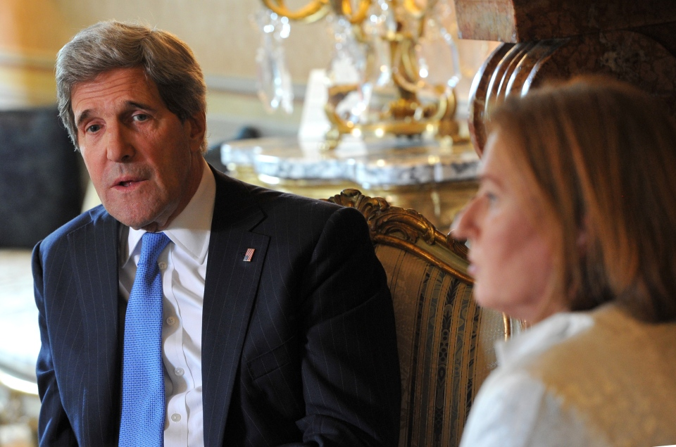 U.S. Secretary of State John Kerry talks with Israeli Justice Minister Tzipi Livni on May 8, 2013. (AP Photo/Mladen Antonov)