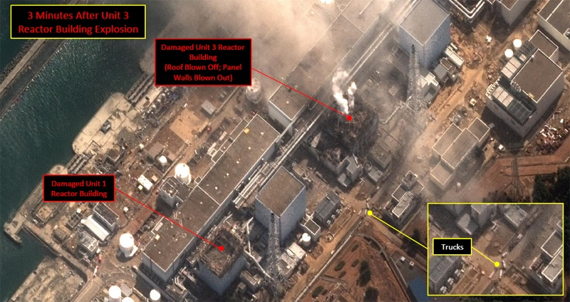 This natural colour satelite image from DigitalGlobe shows the Fukushima Dai-ichi nuclear power plant three minutes after the Unit 3 reactor building explosion.