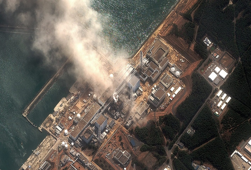 This satellite image provided by DigitalGlobe shows the damaged Fukushima Dai-ichi nuclear facility after a fire erupted at its No. 4 reactor.