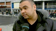 Victor Henriquez, the organizer of the protest, is seen speaking to CTV News, in Montreal, Tuesday, March 15, 2011.