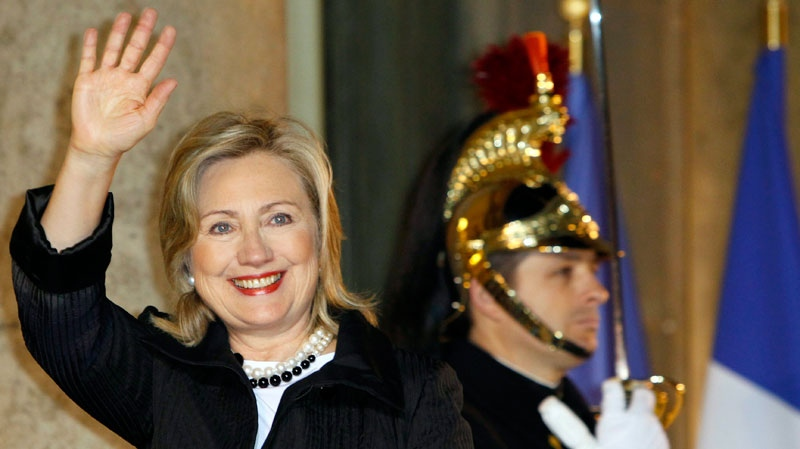 U.S. Secretary of State Hillary Rodham Clinton arrives at the Elysee Palace to meet with France President Nicolas Sarkozy prior to a Group of Eight foreign Ministers meeting in Paris, Monday, March 14, 2011. (AP / Francois Mori)