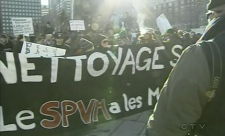Demonstrators at the start of the anti-police brutality march, at Place des Festivals. (March 15, 2011)