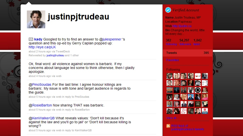 Liberal MP Justin Trudeau's Twitter page is seen in this image.