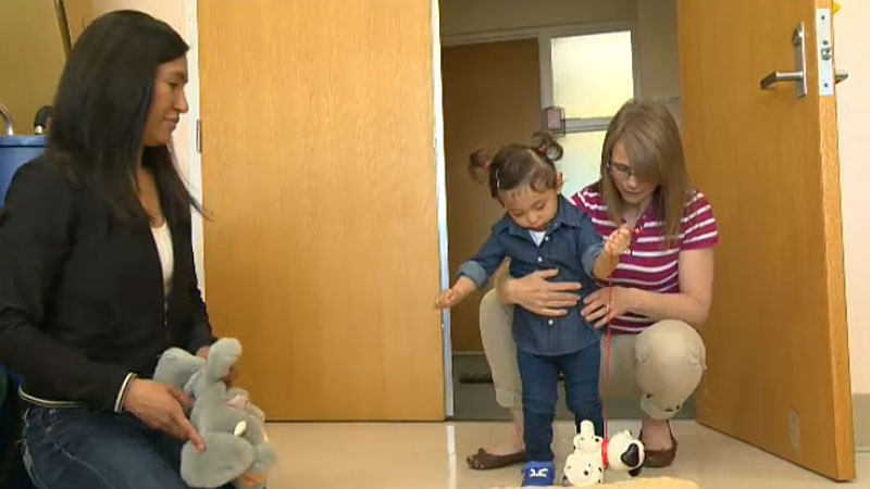 Toddler Alesandra Antipan-Delgado suffered from a stroke shortly after being born and is now learning how to walk and regain mobility through the help of an intense physical therapy program.