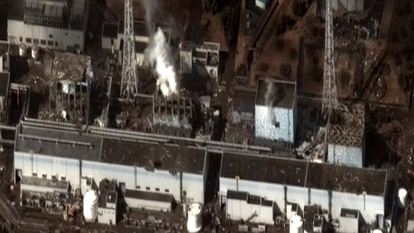 Damage after an earthquake and tsunami at the Fukushima Dai-ichi nuclear power plant complex is seen on Wednesday, March 16, 2011. (AP / DigitalGlobe)