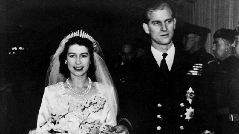 Princess Elizabeth leaves Westminster Abbey in London, with her husband, the Duke of Edinburgh, after their wedding ceremony, Nov. 20, 1947 file photo. (AP / file)