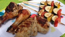 Zucchini & Bell Pepper Skewers and Chicken with Mi
