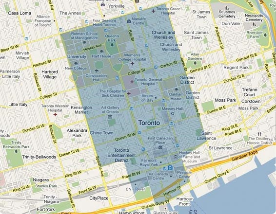 Map of the BIXI service area in Toronto.