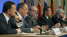 From left, Italian Foreign Minister Fanco Frattini, Russian Foreign Minister Sergey Lavrov, France's Foreign Minister Alain Juppe, Japan's Foreign Minister Takeaki Matsumoto and Canadian's Foreign Minister Lawrence Cannon are seen during a joint media conference during a Group of Eight Foreign Ministers meeting in Paris, Tuesday, March 15, 2011.(AP Photo/Michel Euler)