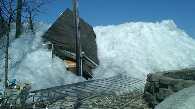 Extensive ice damage at Ochre Beach on Dauphin Lake. Photo courtesy Les Leschasin.
