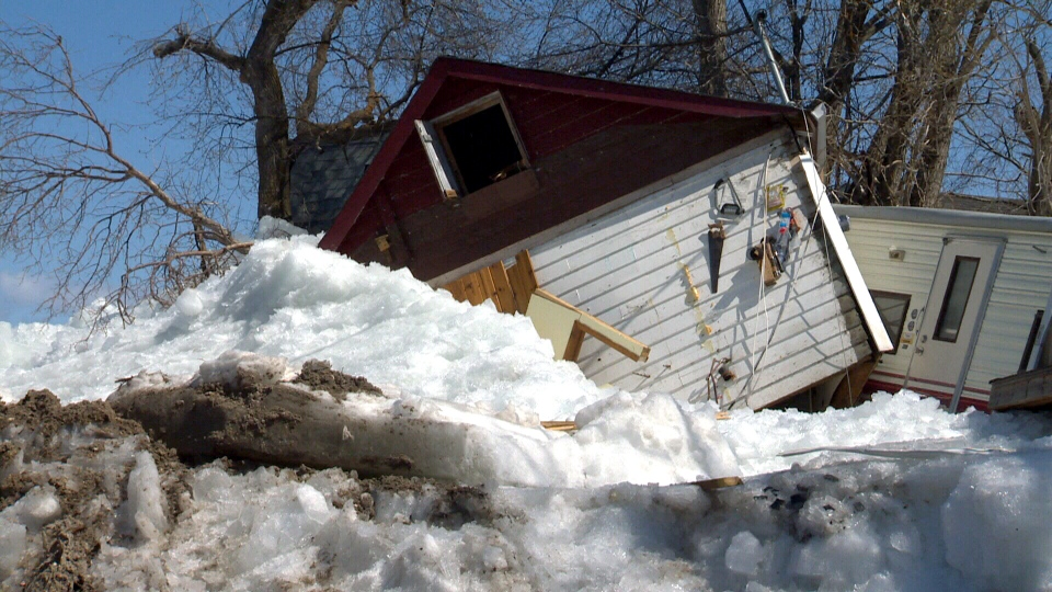 A state of emergency has been declared in a rural municipality near Winnipeg after a giant wall of ice smashed through homes on Friday, May 11, 2013.