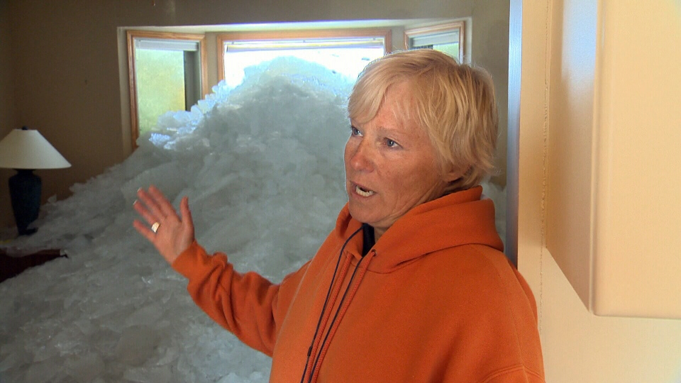 Donna Billows' house was destroyed when a massive wall of ice crashed into it, Friday, May 11, 2013.