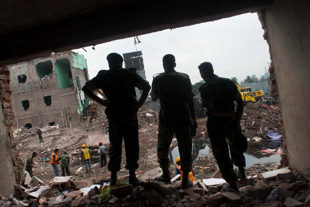 Amid the rubble of Rana Plaza on May 12, 2013.