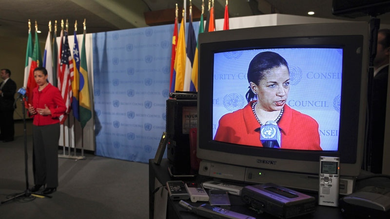 American Ambassador to the U.N. Susan Rice is seen on a television monitor as she speaks to reporters after a Security Council meeting on the situation in Libya, Wednesday, March 16, 2011 at United Nations headquarters. (AP Photo)