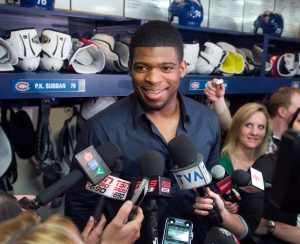 Montreal Canadiens defenceman P.K. Subban speaks to reporters as the team cleans out their lockers Saturday, May 11, 2013 in Brossard, Que. Canada has added Subban to its roster at the IIHF World Championship. (Ryan Remiorz / THE CANADIAN PRESS)