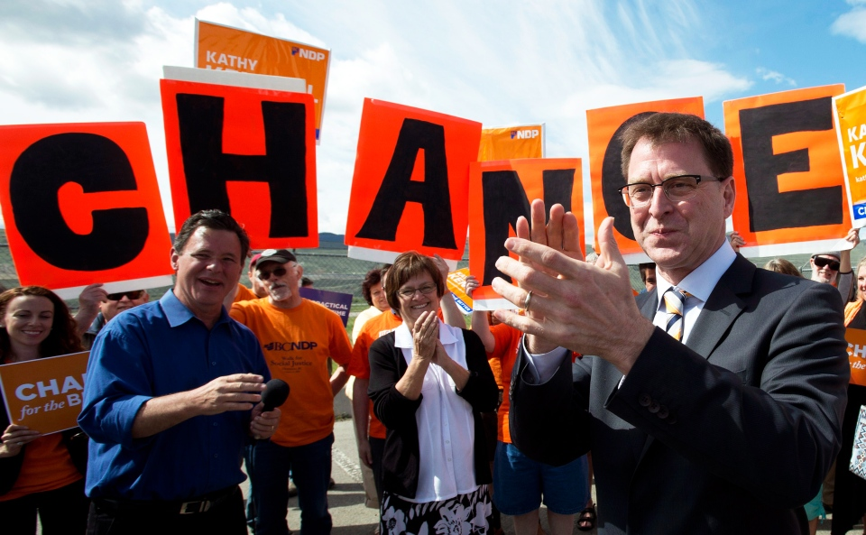 BC NDP leader Adrian Dix attends a campaign stop in Kamloops, B.C., Monday, May 13, 2013. (Jonathan Hayward / THE CANADIAN PRESS)