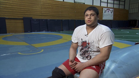 At six-foot-four, 260 pounds, grade 12 student Sunny Dhinsa has dominated the wrestling scene for years � and may represent Canada in the next Olympics.