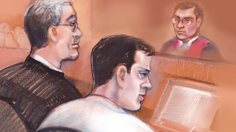 Filmmaker Mark Twitchell, centre, is shown in courtroom sketch with his defence lawyer Charles Davison, on Wednesday March 16, 2011. (Amanda McRoberts / THE CANADIAN PRESS)