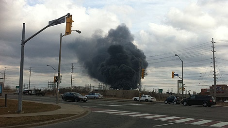 Massive fire at Richview transformer station, late afternoon Friday March 18 (Tom Podolec, CTV News)