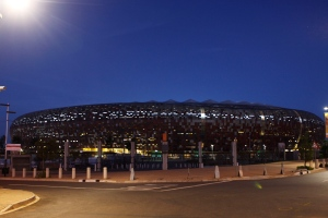Soccer City Stadium in Johannesburg is seen in this photo taken Thursday, Jan. 17, 2013. (AP / Denis Farrell)