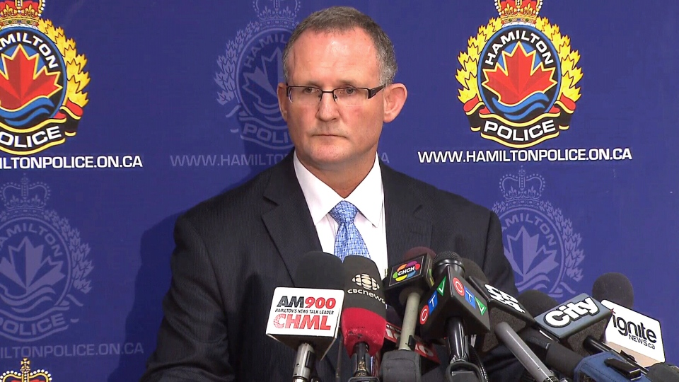 Det.-Sgt. Matt Kavanaugh from the Hamilton police homicide unit discusses the Tim Bosma investigation during a press conference, Tuesday, May 14, 2013.