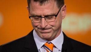 B.C. NDP Leader Adrian Dix pauses while addressing supporters in Vancouver, B.C., on Tuesday May 14, 2013. (Darryl Dyck / THE CANADIAN PRESS)
