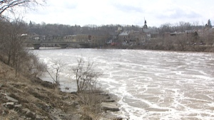 Fast-moving water is seen along the Grand River watershed in Waterloo Region on Friday, March 18, 2011. (CTV SWO)