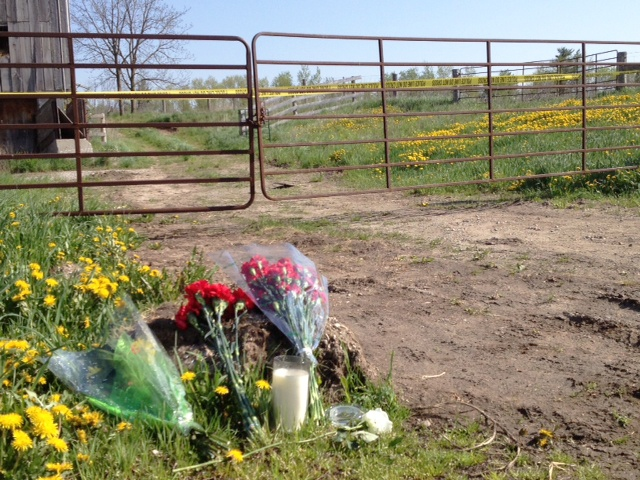 Flowers are left outside a farm property in North Dumfries, Ont., in a makeshift memorial to Tim Bosma. (Kevin Doerr / CTV Kitchener)