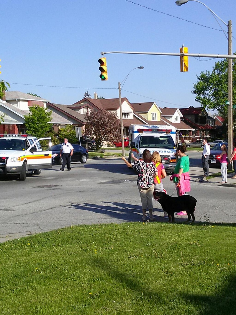 A nine-year-old girl was sent to hospital with minor injuries after getting hit by a car at Parent Avenue and Ellis Street in Windsor, Ont., on Wednesday, May 15, 2013. (Arms Bumanlag / CKLW)