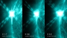 These pictures from NASA's Solar Dynamics Observatory show the three X-class flares that the sun emitted in under 24 hours on May 12-13, 2013. (Photo courtesy of NASA).